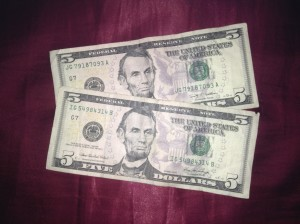 2 US five dollar bills