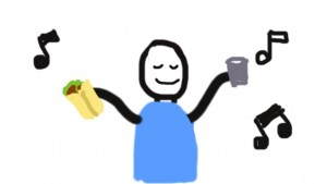 A crude drawing of a smiling person with a burrito and a pint surrounded by musical notes