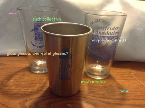"Three collectible pints from previous Pints Against Plastic Events with doge-style text: ""wow. such collection. very deliciousness. glass glasses and metal glasses?! much stylish. wow."""