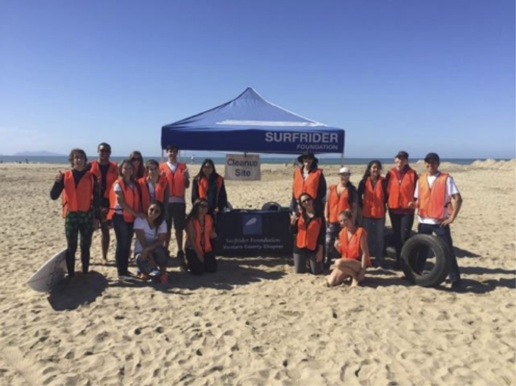 Volunteers from CSU Channel Islands after a hard day's work at Mandalay State Beach.
