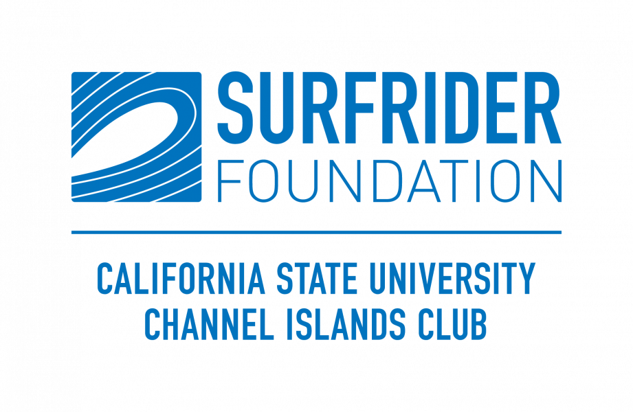 "The Cal State Channel Islands Surfrider Club logo: Stylized wave with the words ""Surfrider Foundation"" above the words ""California State University Channel Islands Club"", all in Surfrider blue."